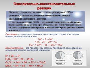 Окислительно – восстановительные реакции (ОВР)