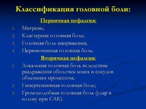Классификация головной боли