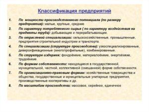 Понятие предприятия и классификации предприятий