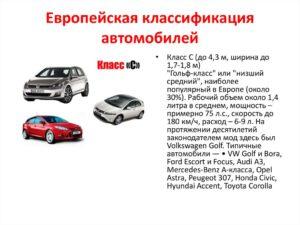 Европейская классификация легковых автомобилей