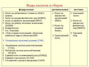 Виды налогов в Российской Федерации