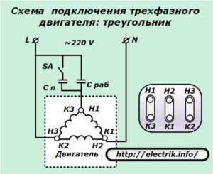Схема подключения трёхфазного электродвигателя
